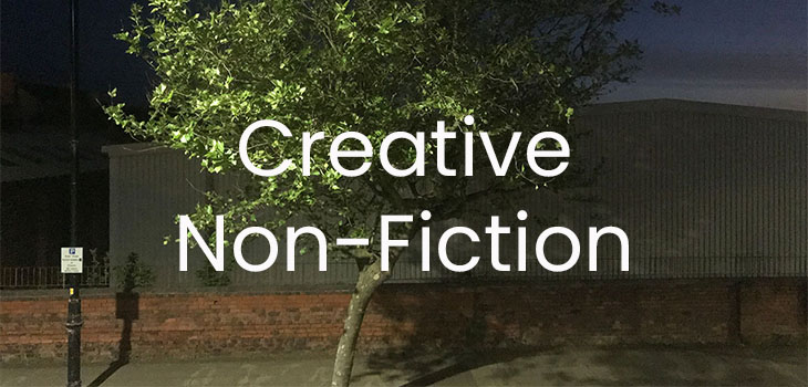 A tree at night with the text 'Creative Non-Fiction' overlaid in white