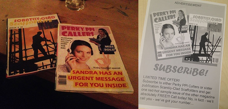A pair of fake magazines, props from the play Fleeing Town Forever