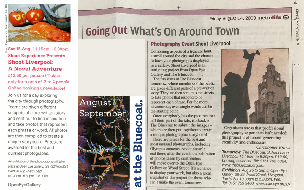 Shoot Liverpool - A Novel Adventure Bluecoat listing and Metro preview